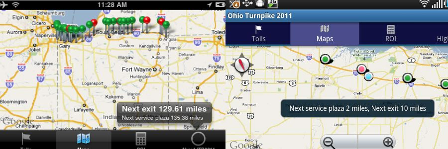 Get information on the distance from the next exit and service plaza with a tap on your screen.